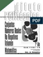 1101-14 MATEMATICA - Conjuntos-Reales No Negativos-Volumen