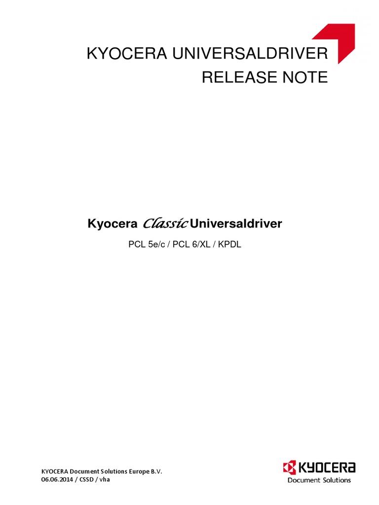 Kyocera Classic Universaldriver Release Note | Microsoft Windows | Printer  (Computing)