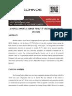 A Novel Modulo Adder for 2n-2k-1 Residue Number System