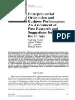 Entrepreneurship and Business Performance