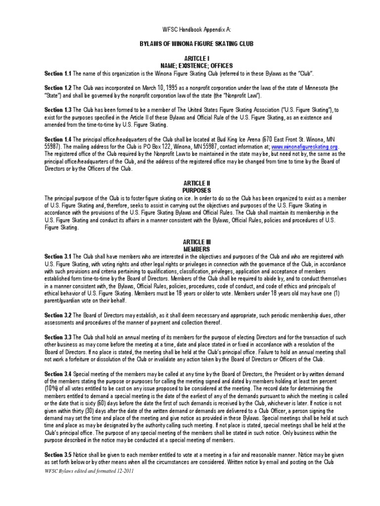 wfsc bylaws 1 proxy voting board of directors