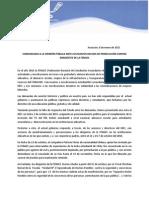 COMUNICADO A LA OPINION PUBLICA ANTE LA PERSECUSION DE DIRIGENTES DE LA FENAES