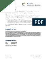 ETLity Generating PowerCenter Mappings Factsheet