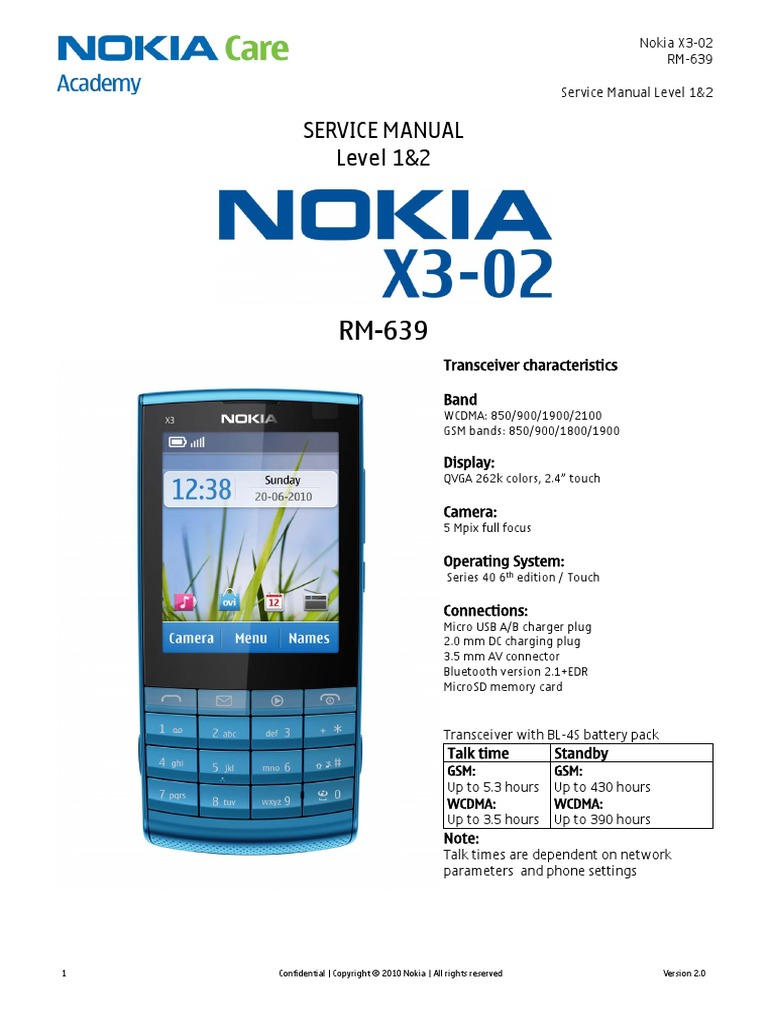 Nokia x3-02 Rm-639 Service Manual-12 v2 | Electrostatic Discharge | Battery  (Electricity)