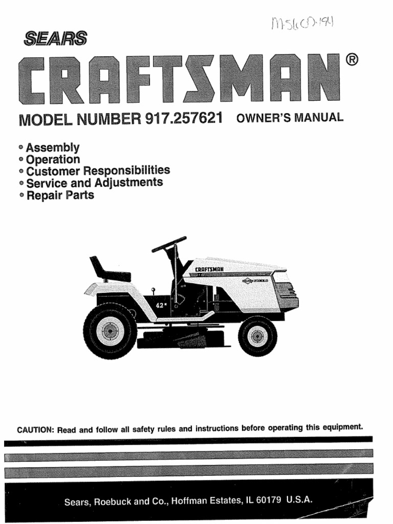 Craftsman 917257621 Riding Lawn Mower Manual Tractor Clutch Lt4000 Wiring Diagram