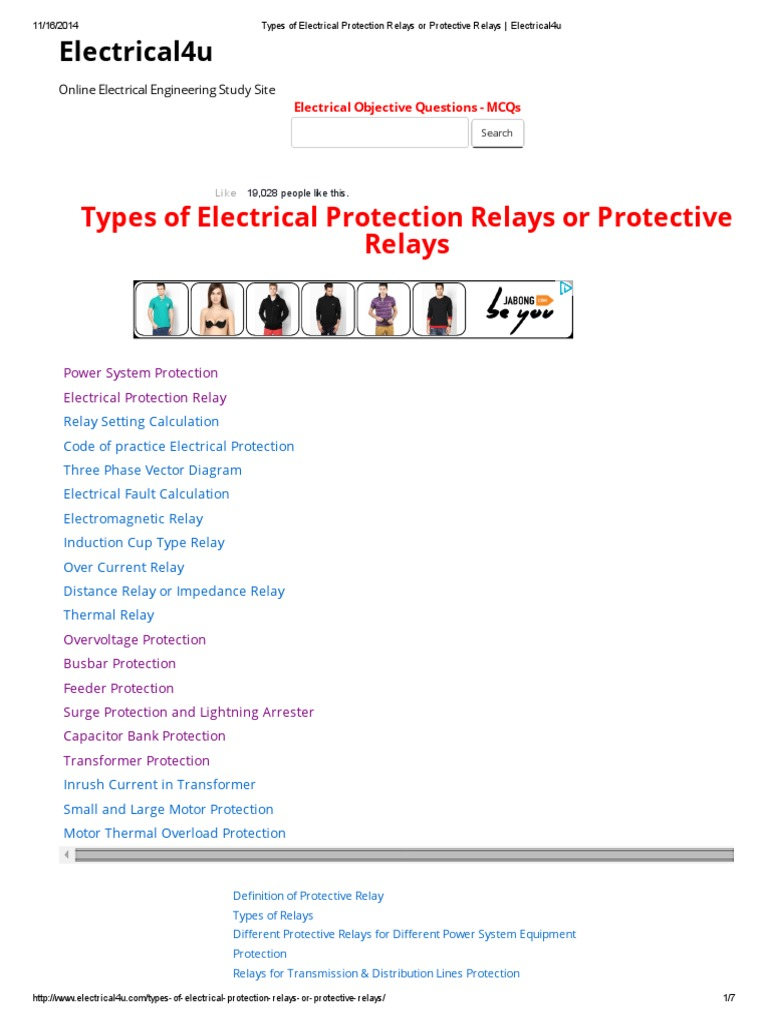 Protective Relay Relay Electric Power System