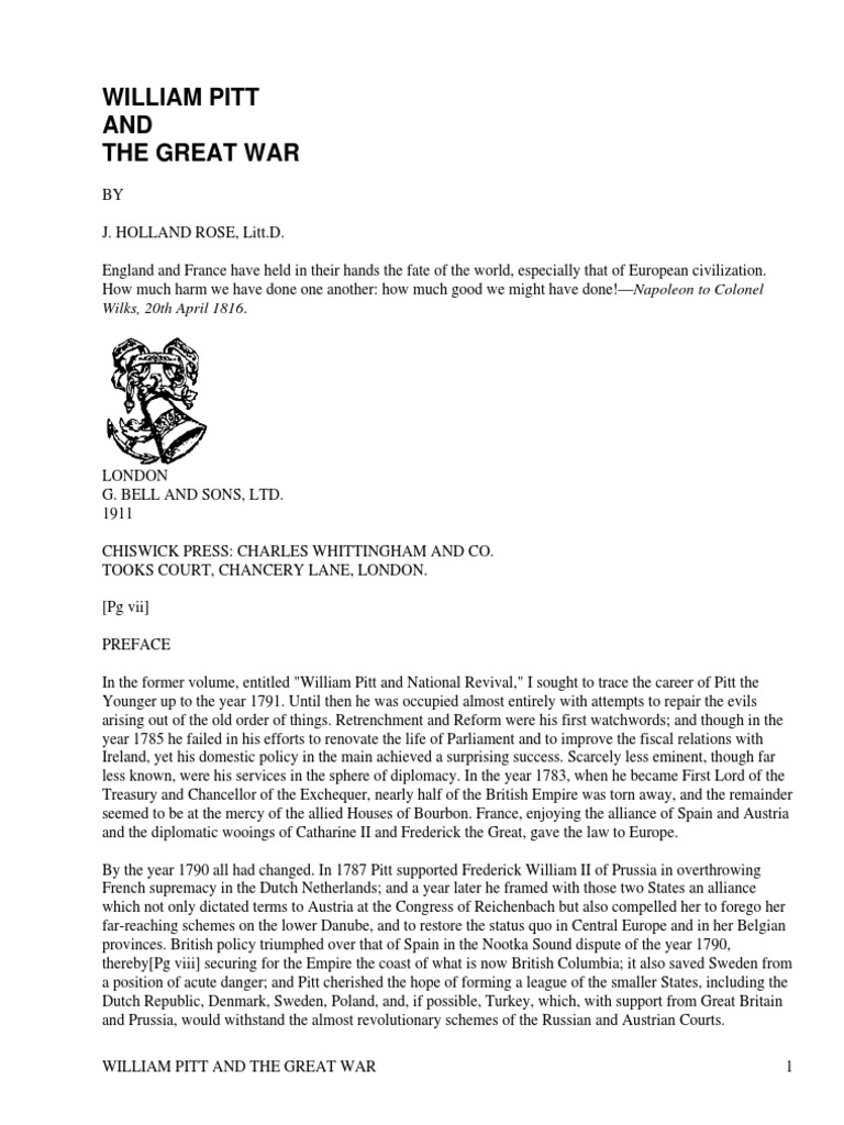 William Pitt And The Great War By Rose John Holland 1855 1942