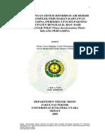 Perancangan Sistem Distribusi Air Bersih Pada Komplek Perumahan Karyawan PT.pertamina UP II Sei-Pakning Kabupaten Bengkalis, Riau Dari Reservoar WDCP Kilang Pertamina