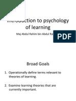 Pengenalan Kepada Psikologi Pembelajaran