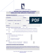 Unyt Application Form for Esl Graduate Students