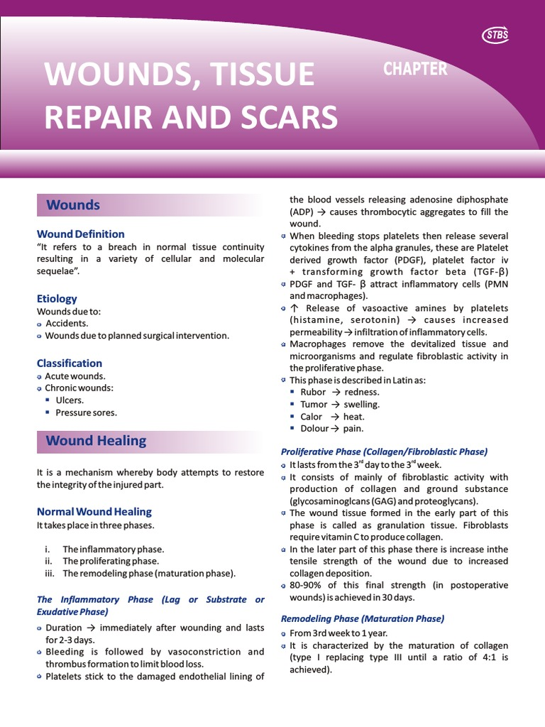 1 chapter wounds tissue repair scars | Scar | Wound Healing