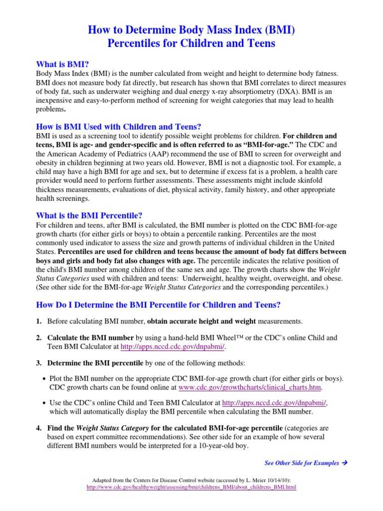 Bmi for children handout body mass index determinants of health nvjuhfo Choice Image