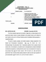 Commonwealth v. Allen, No. J-68-2014 (Dec. 29, 2014) (Saylor, J., dissenting)