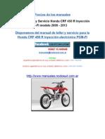 Manual de Taller y Servicio Honda CRF 450 R Inyección Electrónica PGM-FI Modelo 2009 - 2013