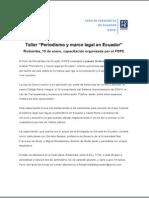 """Taller """"Periodismo y marco legal en Ecuador"""". Riobamba, 15 de enero, capacitación organizada por el FOPE"""