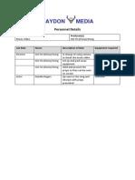 Personnel Details