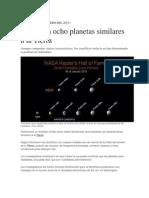 Localizan 8 planetas similares a la tierra (07-01-2015)