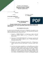 Trial Memorandum-pedro Buhay