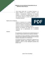 Contabilidad Ambiental en Los Estados Financieros de Las Empresas Industriales