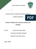 Practica 2.Modelos de La Estructura Atómica (Red Cristalina).