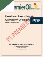 PERATURAN PERUSAHAAN PT PREMIER OIL INDONESIA