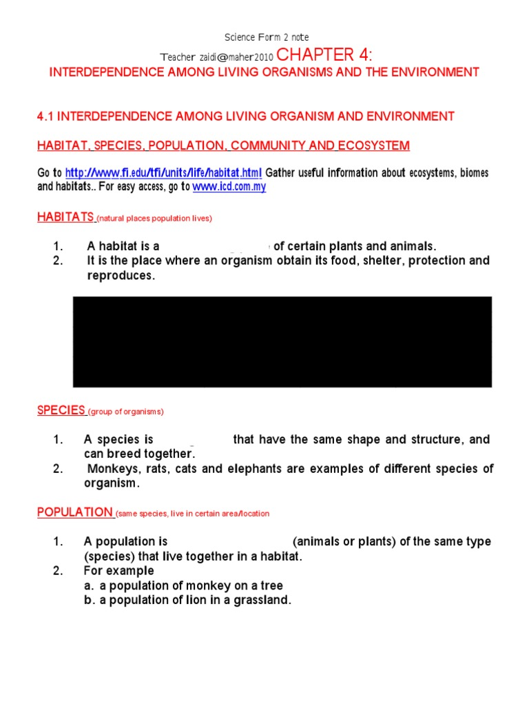 Chapter 4 Interdependence Among Living Organism And Doc