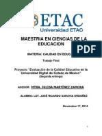Evaluación de la Calidad Educativa en la Universidad Digital del Estado de México