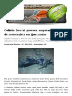 Colisão Frontal Provoca Amputação Da Perna de Mototaxista Em Queimadas