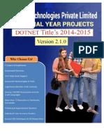 IEEE DOTNET PROJECT LIST 2014-2015