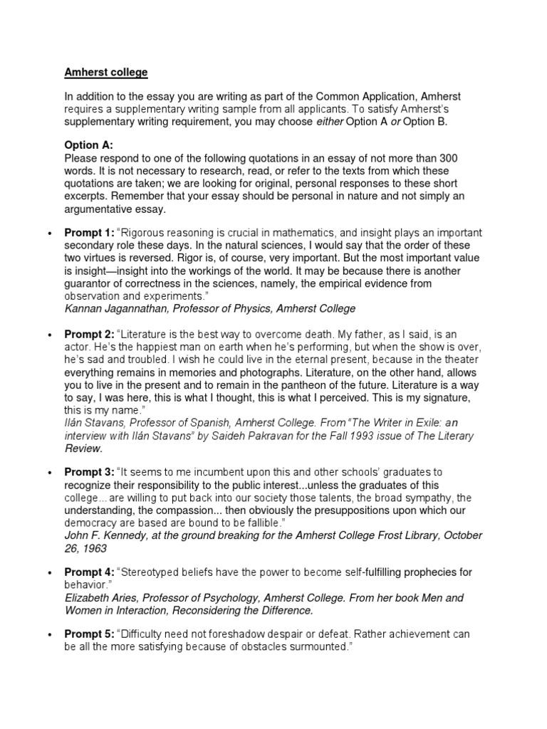 amherst supplement essay 2013