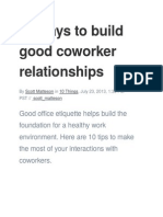 10 Ways to Build Good Coworker Relationships