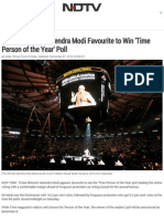 Prime Minister Narendra Modi Favourite to Win 'Time Person of the Year' Poll