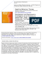 Development and Psychometric Investigation of an Inventory to Assess Fight, Flight, And Freeze Tendencies the Fight, Flight, Freeze Questionnaire 2014 Cognitive Behaviour Therapy