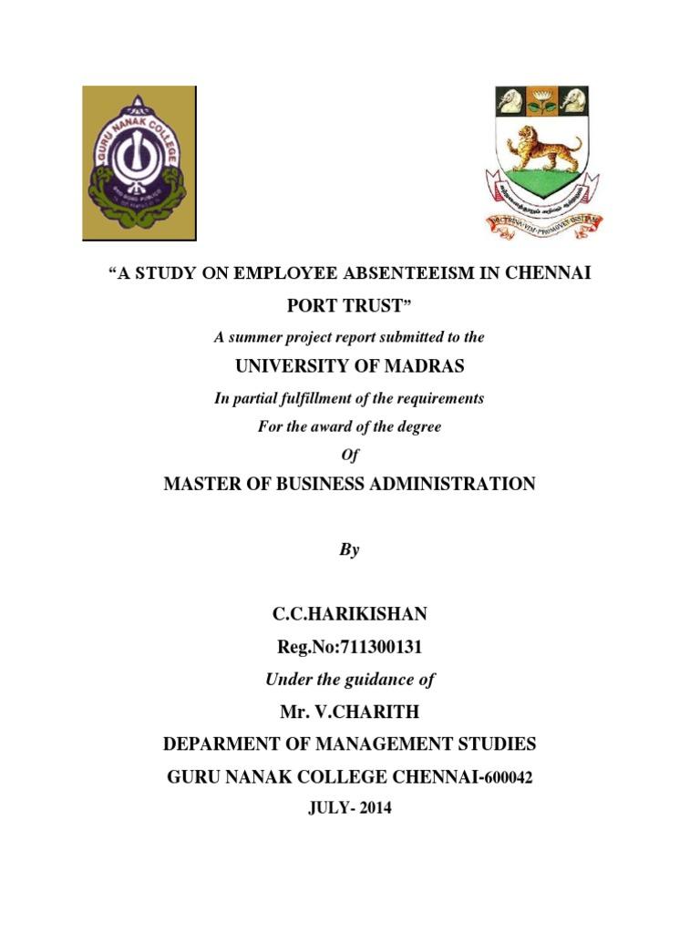 Harikishan MBA Project in Chennai Port | Chi Squared