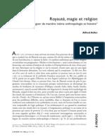 ALDER, Alfred. Royauté, Magie Et Religion 2002