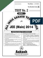 JEE Main 2014_Test 2 (Paper I) Code A