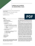 Lipoproteínas-Actualización de Los Métodos Para La Medición de La Concentración de Colesterol HDL en Suero-Recomendación (2011)