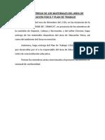 Acta de Entrega de Los Materiales Del Area de Educacion Fisica y Plan de Trabajo