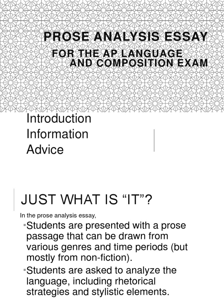 Prose Analysis Essay: For The Ap Language And Composition