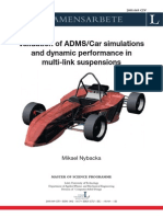 Validation of ADMS/Car simulations and dynamic performance in multi-link suspensions
