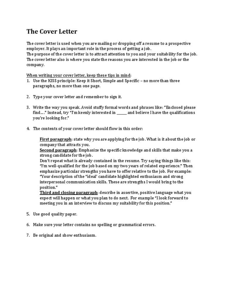 The Cover Letter Résumé Cognition