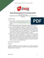 Decreto Supremo Nº 772, 19 de enero de 2011