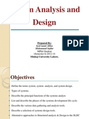 System Analysis And Design Feasibility Study Intelligence Analysis