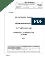 especificación técnica de tanque hidroneumatico