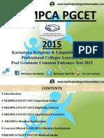 KLRMPCA PGCET 2015 PG Medical Entrance Exam Details