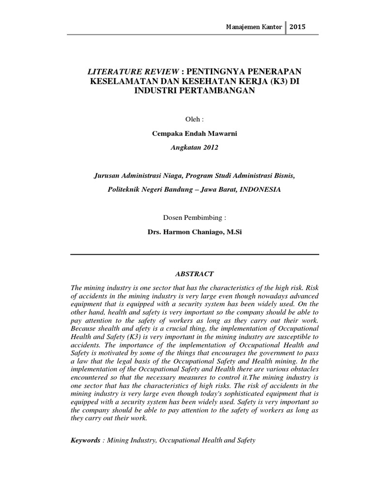 contoh literature review politeknik