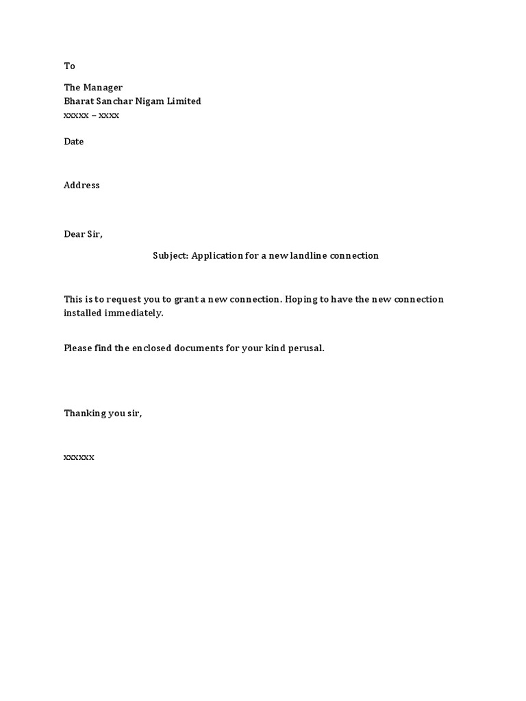 New Phone Connection Request Letter  Purchase Letter Format