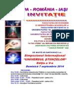 Invitatia La Simpozionul International - UNIVERSUL STIINTELOR - Editia a v-A