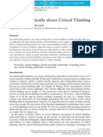 Thinking Critically About Critical Thinking