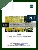 Guía Parte II Recepción Crítica Teatro de Shakespeare Curso 2014-2015 - DeFINITIVA